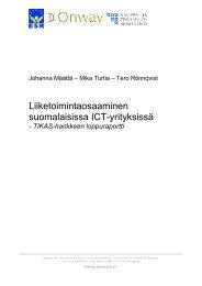 Liiketoimintaosaaminen suomalaisissa ICT-yrityksissä
