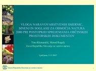 vloga naravovarstvenih smernic, mnenj in soglasij za ... - Natura 2000