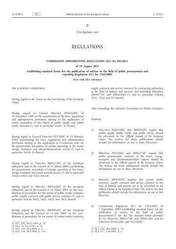 Commission Implementing Regulation (EU) No 842/2011 ... - EUR-Lex