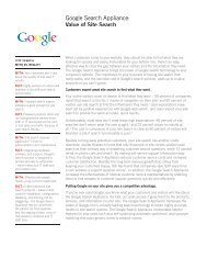Google Search Appliance: Value of Site Search