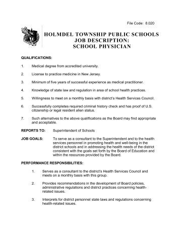 Holmdel Township Public Schools Job Description: School Psychologist