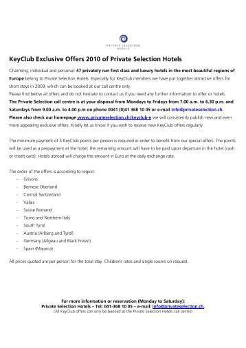 KeyClub Exclusive Offers 2010-E - Private Selection Hotels