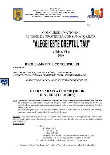 Alege este Dreptul Tau - Inspectoratul Şcolar Judeţean Mureş