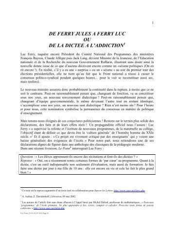 DE FERRY JULES A FERRY LUC OU DE LA ... - Michel Delord
