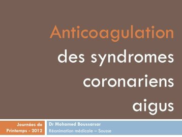 Anticoagulation des syndromes coronariens aigus - ATuRea
