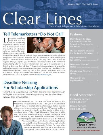 January 2007 Clear Lines Newsletter - Clear Creek Communications