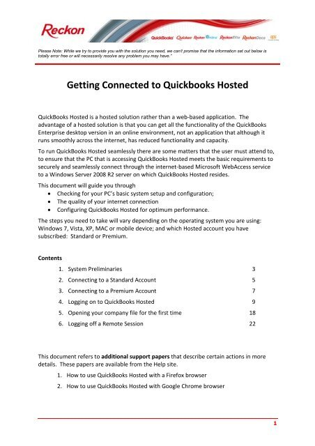 Getting Connected to Quickbooks Hosted - Reckon