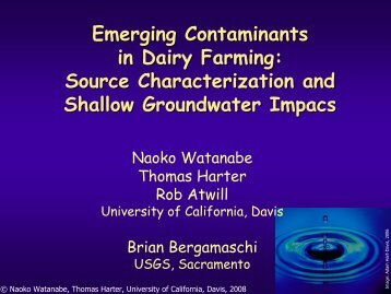 Emerging Contaminants in Dairy Farming: Source Characterization ...
