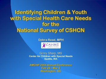 Identifying Children and Youth with Special Health Care Needs for ...