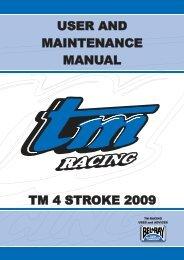 user and maintenance manual user and maintenance ... - TM Racing
