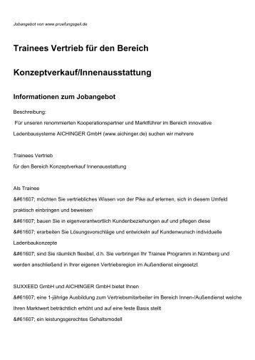 Trainees Vertrieb für den Bereich Konzeptverkauf/Innenausstattung