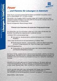 Feuer … und Flamme für Lösungen in Edelstahl - Walser + Co. AG