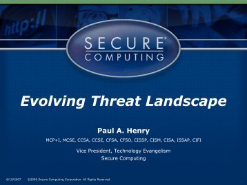 Evolving Threats