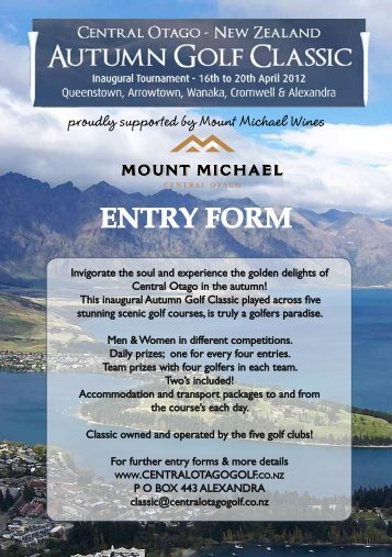 ENTRY FORM - Golf Otago