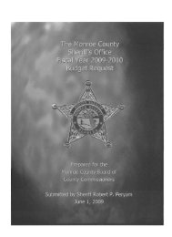 Sheriff's Office budget, Fiscal Year 2009 - 2010 - Monroe County ...