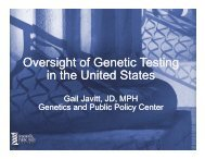 Javitt's slides - Genetics & Public Policy Center