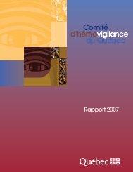 Comité d'hémovigilance du Québec - Rapport 2007 - Gouvernement ...