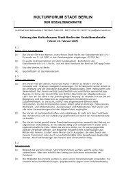 Satzung, Stand 16. Februar 2005 - Kulturforum Stadt Berlin