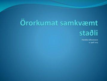 Glærur Haraldar Jóhannssonar, yfirlæknis á Réttindasviði TR
