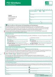 Antrag PSD Giro4you minderjährige - PSD Bank Köln eG