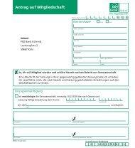 Antrag auf Mitgliedschaft - PSD Bank Köln eG