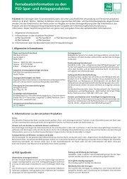 Fernabsatzinformation zu den PSD Spar- und Anlageprodukten