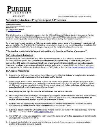 satisfactory academic progress appeal essay Luzerne county community college financial aid satisfactory academic progress appeal form section a: student information name:_____ student id #_____.