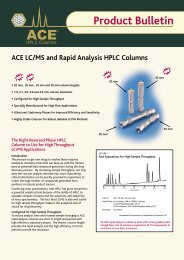 ACE LC/MS and Rapid Analysis HPLC Columns - Teknolab AS