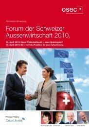 Forum der Schweizer Aussenwirtschaft 2010.