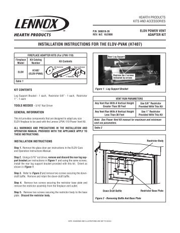 Installation Instructions - Power Vent Adapter Kit