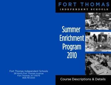 Summer Enrichment Brochure 2010-B.pub - Fort Thomas ...