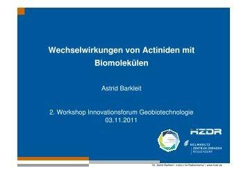 Wechselwirkungen von Actiniden mit Biomolekülen - GWZ Dresden