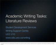 Literature Reviews - Student Development Services