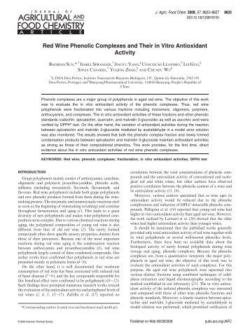 Red Wine Phenolic Complexes and Their in Vitro Antioxidant ...