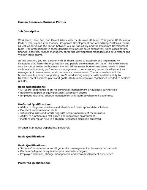 Human Resources Business Partner Job Description     - Students