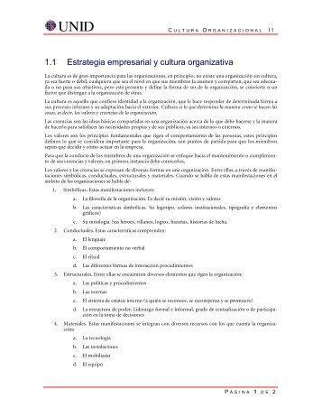 1.1 Estrategia empresarial y cultura organizativa