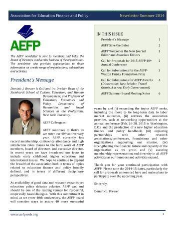 AEFP Summer 2014 Newsletter