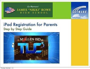 iPad Registration for Parents - Rowe High School