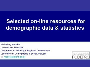 Selected on-line resources for demographic data & statistics