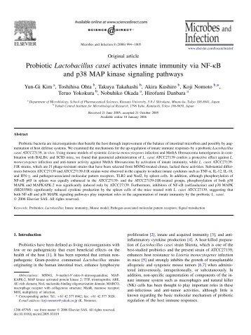 Probiotic Lactobacillus casei activates innate immunity via NF-kB ...
