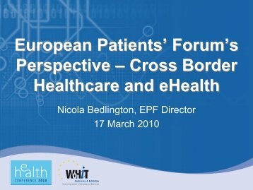 Forum's Perspective – Cross Border Healthcare ... - World of Health IT