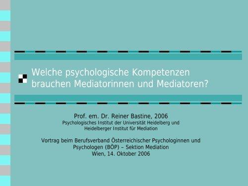 I. Umgehen mit den Beziehungen in der Mediation - des ...