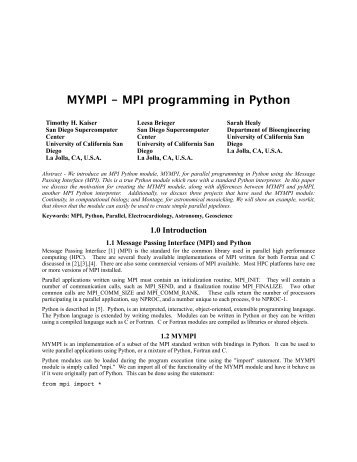 MYMPI - MPI programming in Python