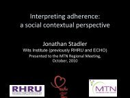 Interpreting adherence: a social contextual perspective - Microbicide ...