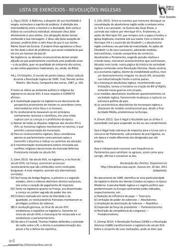 LISTA DE EXERCÍCIOS -‐ REVOLUÇÕES INGLESAS