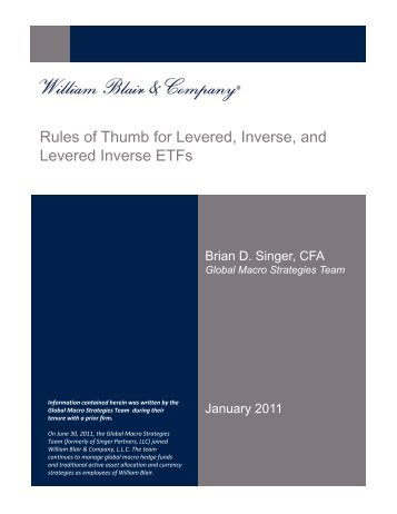 Rules of Thumb for Levered, Inverse and Levered Inverse ETFs
