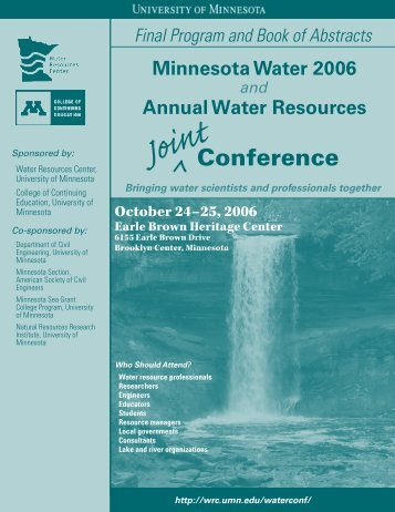 Conference - Water Resources Center - University of Minnesota