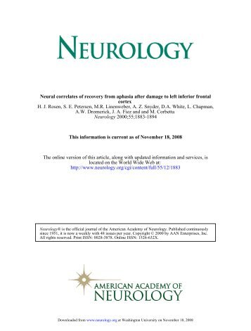 Neural correlates of.. - Neuroimaging Laboratory - Washington ...