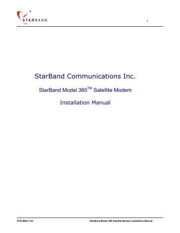 StarBand Model 360TM Satellite Modem Installation Manual