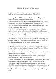 Rede des 1. Vorsitzenden Meinolf Jolk zur 75 - TC Blutenburg